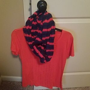 Coral tee w/ navy and coral scarf